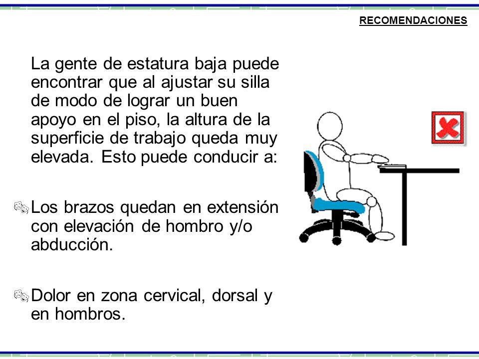 RECOMENDACIONES La gente de estatura baja puede encontrar que al ajustar su silla de modo de lograr un buen apoyo en el piso, la altura de la superfic