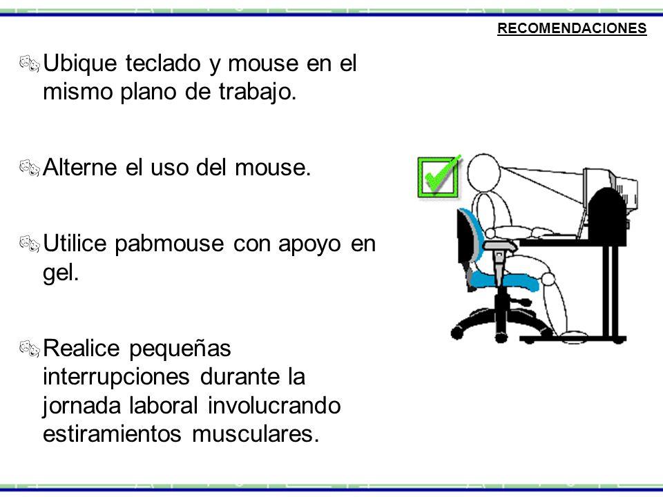 RECOMENDACIONES  Ubique teclado y mouse en el mismo plano de trabajo.  Alterne el uso del mouse.  Utilice pabmouse con apoyo en gel.  Realice pequ