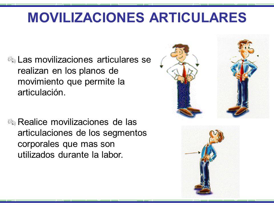  Las movilizaciones articulares se realizan en los planos de movimiento que permite la articulación.  Realice movilizaciones de las articulaciones d