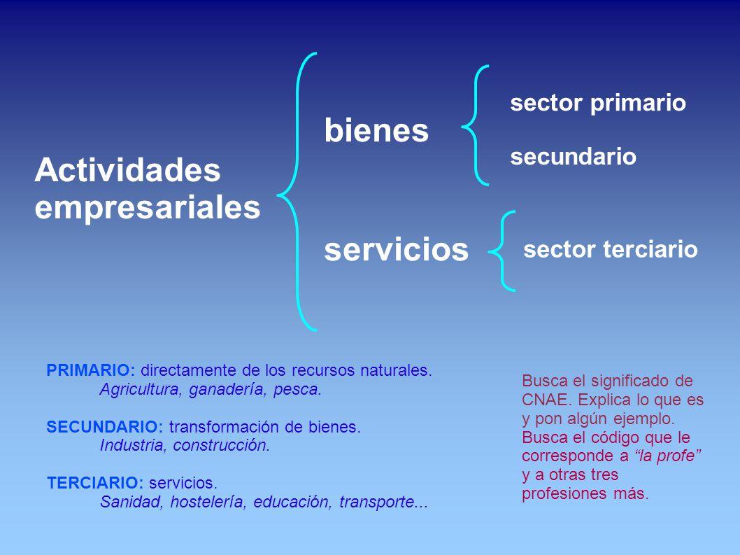 Actividades empresariales bienes servicios sector primario secundario PRIMARIO: directamente de los recursos naturales.