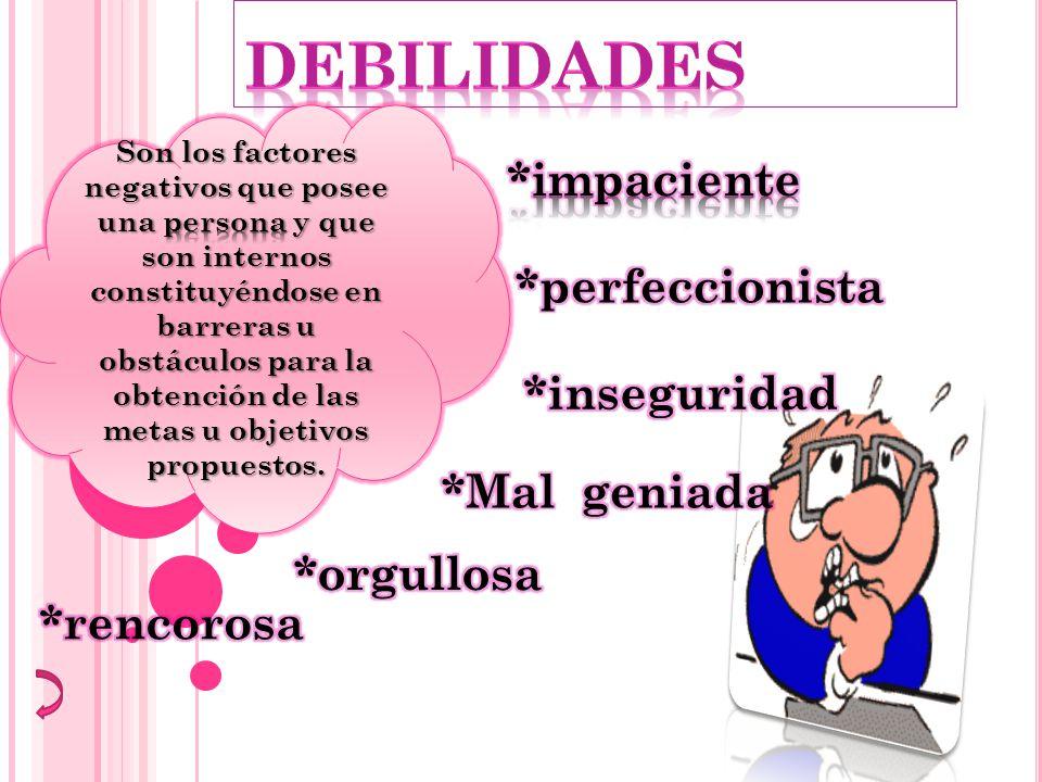 Son los factores negativos que posee una persona y que son internos constituyéndose en barreras u obstáculos para la obtención de las metas u objetivos propuestos.