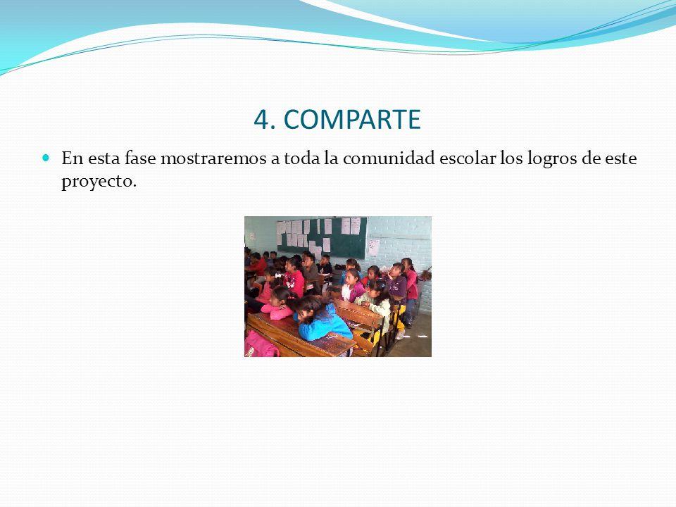 4. COMPARTE En esta fase mostraremos a toda la comunidad escolar los logros de este proyecto.