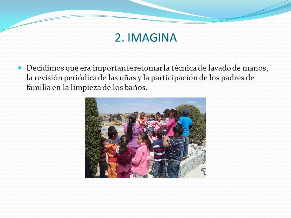 2. IMAGINA Decidimos que era importante retomar la técnica de lavado de manos, la revisión periódica de las uñas y la participación de los padres de f
