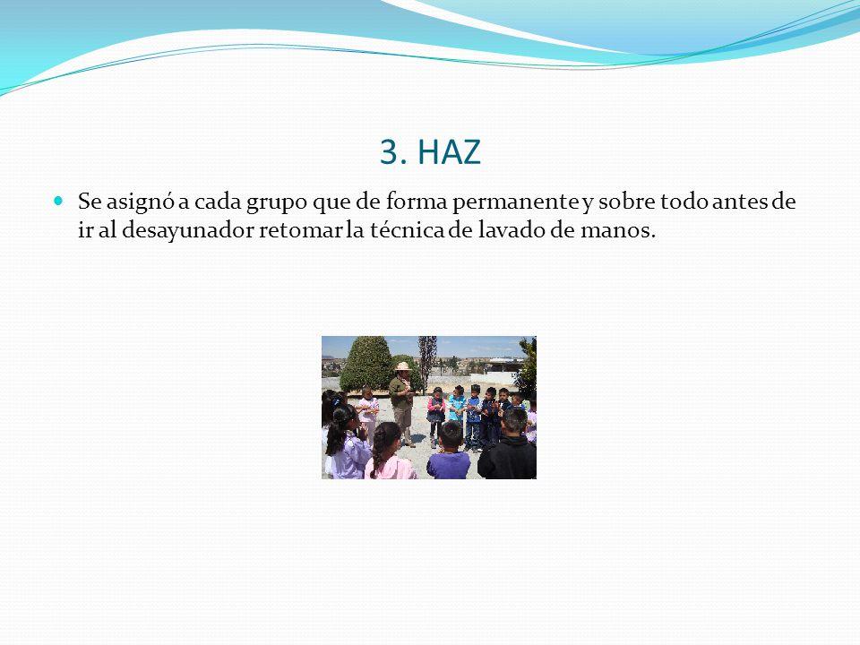 3. HAZ Se asignó a cada grupo que de forma permanente y sobre todo antes de ir al desayunador retomar la técnica de lavado de manos.