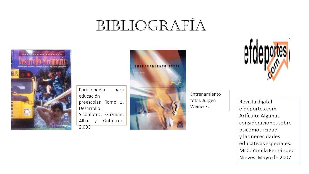 BIBLIOGRAFÍA Enciclopedia para educación preescolar.