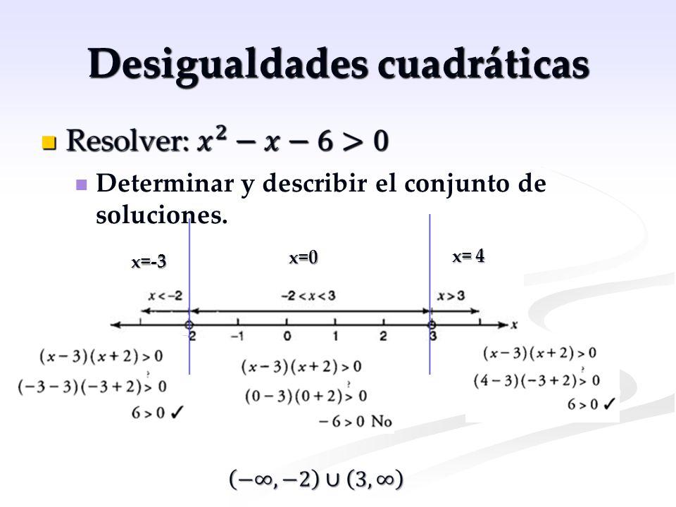 Desigualdades cuadráticas x=-3 x=0 x= 4 Determinar y describir el conjunto de soluciones.