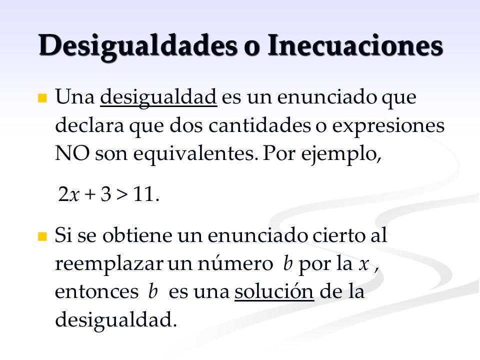 Desigualdades (continuación) Por ejemplo, x = 5 es una solución de 2x + 3 > 11 ya que 13 > 11 is cierto, pero… x = 3 no es una solución ya que 9 > 11 es falso.