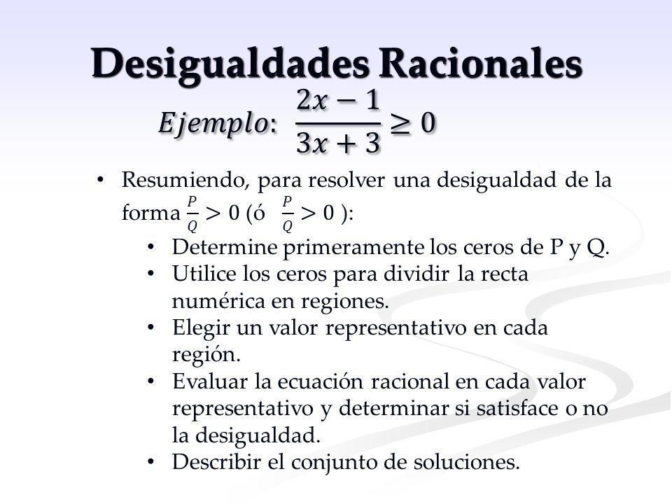 Desigualdades Racionales Determine primeramente los ceros de P y Q. Utilice los ceros para dividir la recta numérica en regiones. Elegir un valor repr