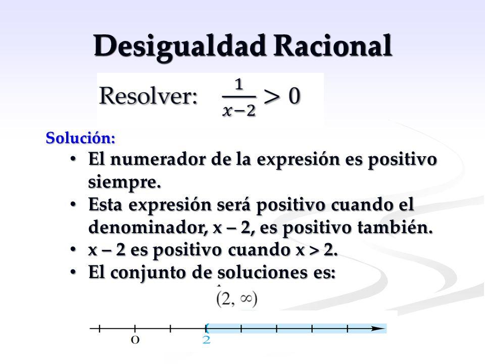 Desigualdad Racional Solución: El numerador de la expresión es positivo siempre. El numerador de la expresión es positivo siempre. Esta expresión será