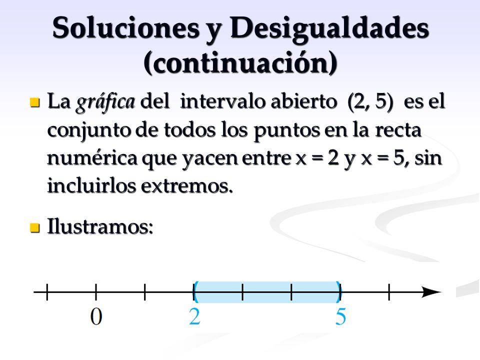 Soluciones y Desigualdades (continuación) La gráfica del intervalo abierto (2, 5) es el conjunto de todos los puntos en la recta numérica que yacen en