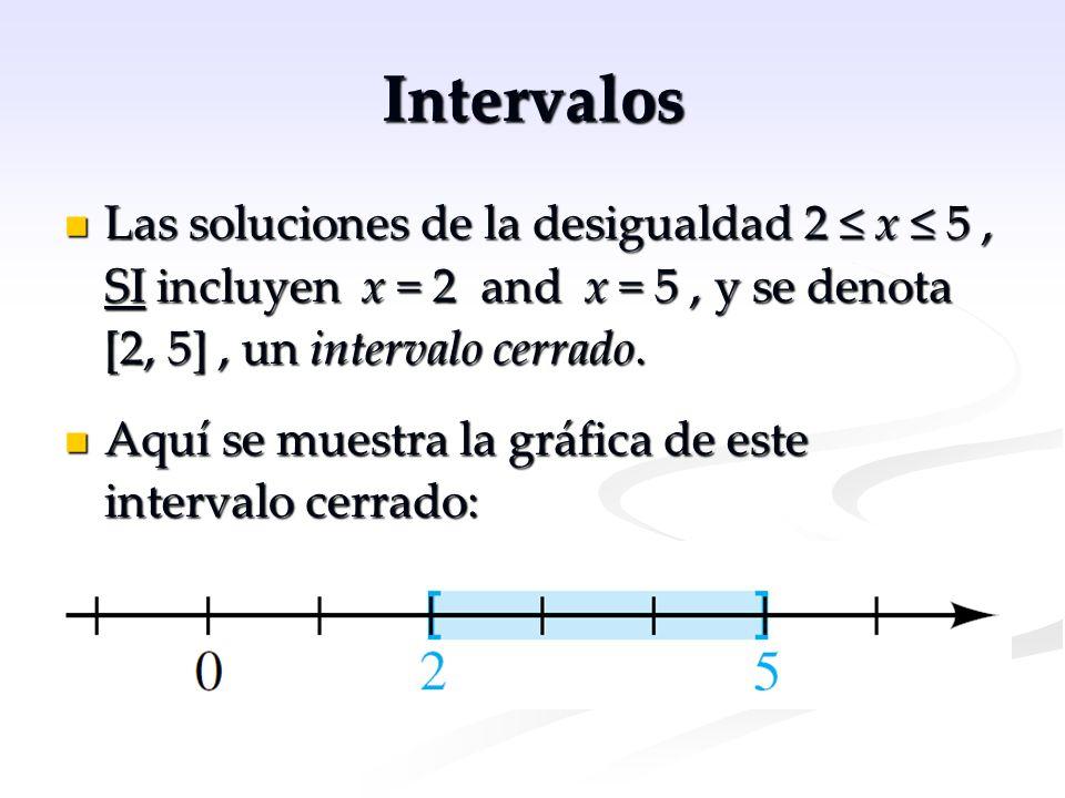Intervalos Las soluciones de la desigualdad 2 ≤ x ≤ 5, SI incluyen x = 2 and x = 5, y se denota [2, 5], un intervalo cerrado. Las soluciones de la des