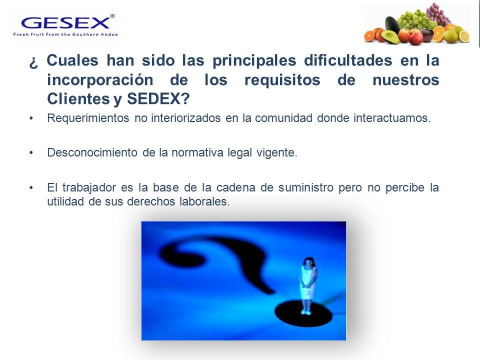 ¿ Cuales han sido las principales dificultades en la incorporación de los requisitos de nuestros Clientes y SEDEX.