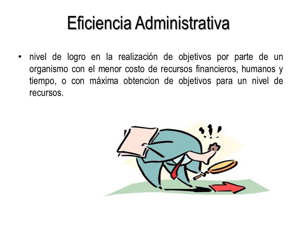 Eficiencia Administrativa nivel de logro en la realización de objetivos por parte de un organismo con el menor costo de recursos financieros, humanos y tiempo, o con máxima obtencion de objetivos para un nivel de recursos.