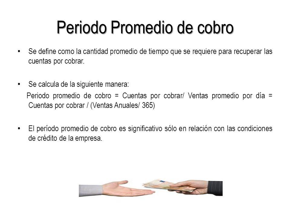 Periodo Promedio de cobro Se define como la cantidad promedio de tiempo que se requiere para recuperar las cuentas por cobrar.