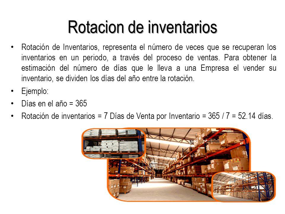 Rotacion de inventarios Rotación de Inventarios, representa el número de veces que se recuperan los inventarios en un periodo, a través del proceso de ventas.