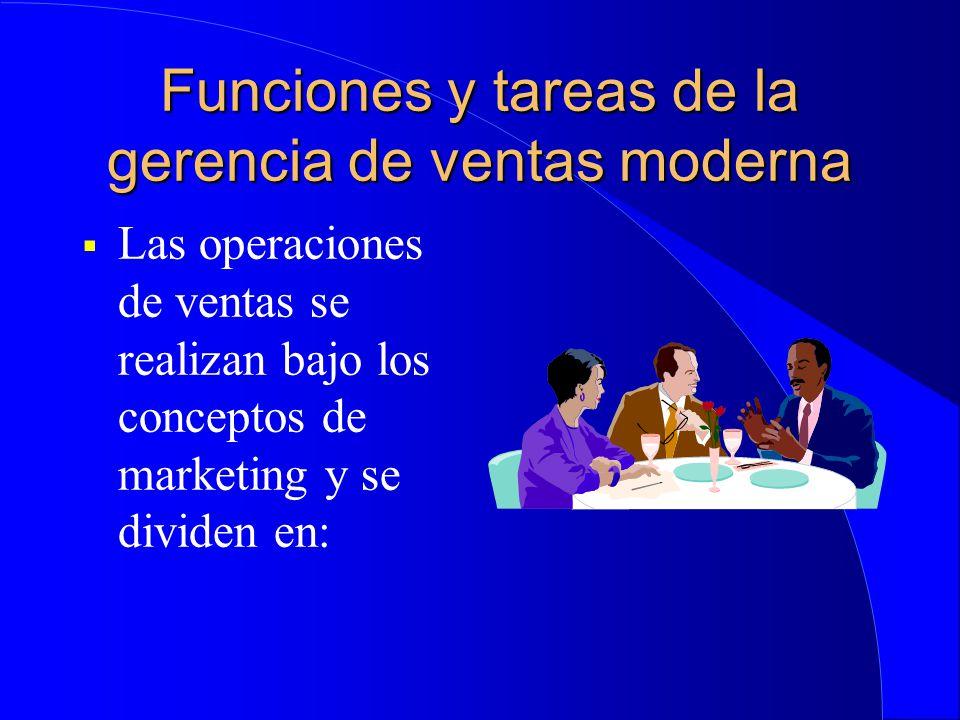 Funciones y tareas de la gerencia de ventas moderna  Las operaciones de ventas se realizan bajo los conceptos de marketing y se dividen en: