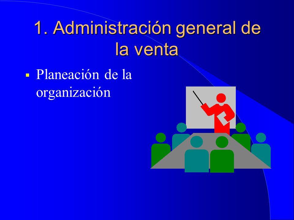 1. Administración general de la venta  Planeación de la organización