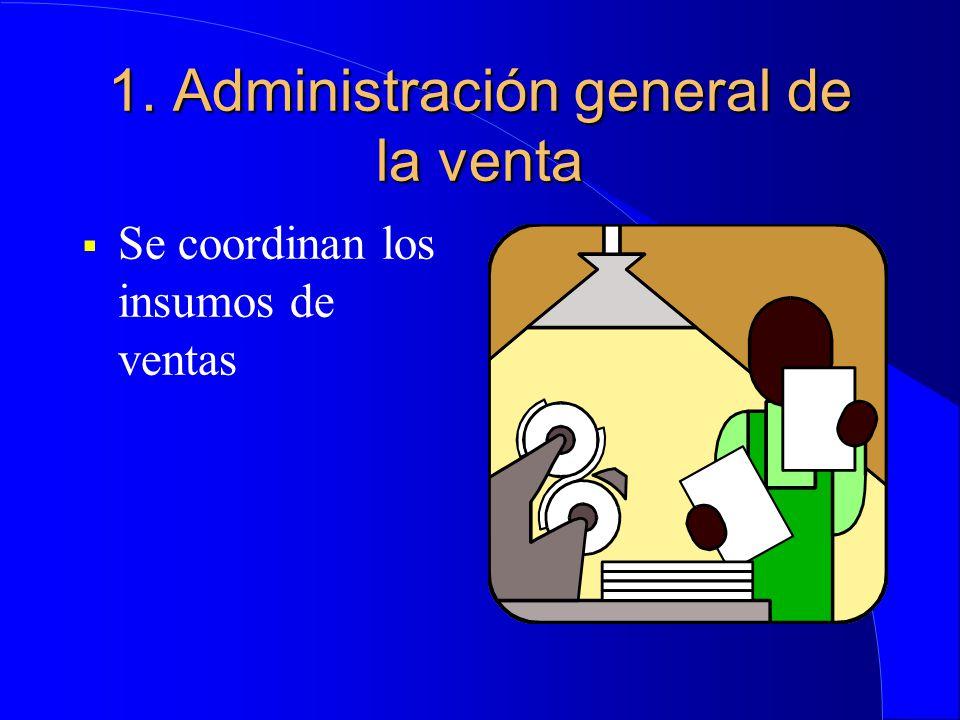 1. Administración general de la venta  Se coordinan los insumos de ventas