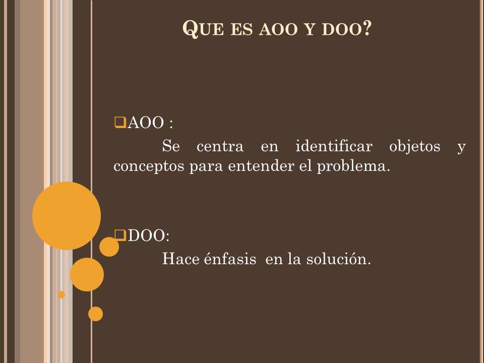 Q UE ES AOO Y DOO .  AOO : Se centra en identificar objetos y conceptos para entender el problema.