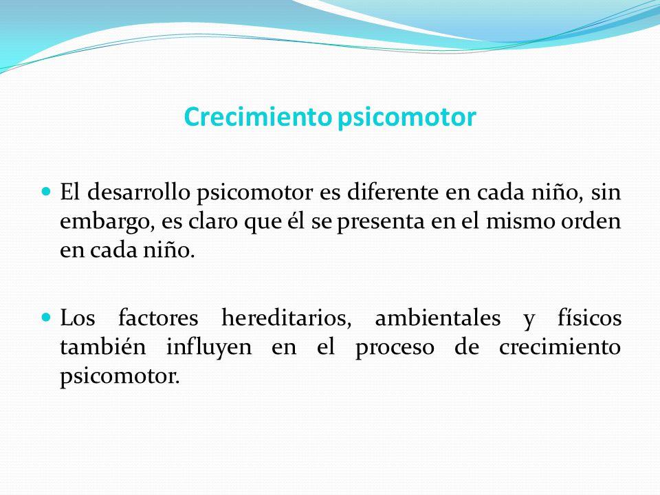 Crecimiento psicomotor El desarrollo psicomotor es diferente en cada niño, sin embargo, es claro que él se presenta en el mismo orden en cada niño. Lo