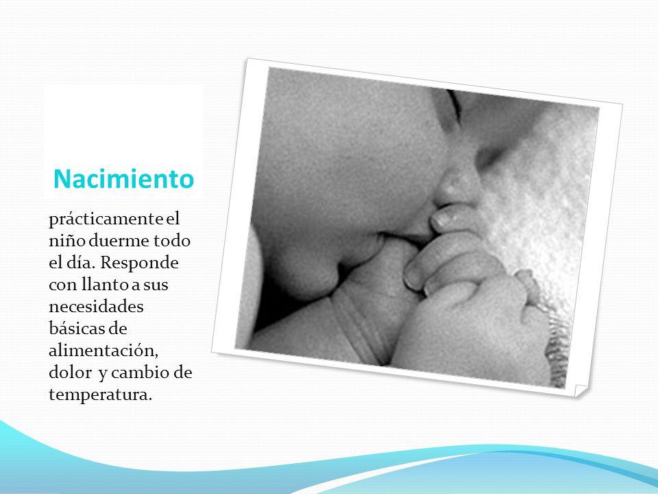 Nacimiento prácticamente el niño duerme todo el día. Responde con llanto a sus necesidades básicas de alimentación, dolor y cambio de temperatura.