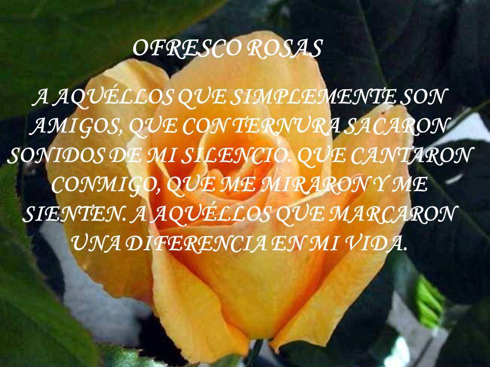 Ofresco una rosa a quien me dió perfume, a quien me dió sentido.