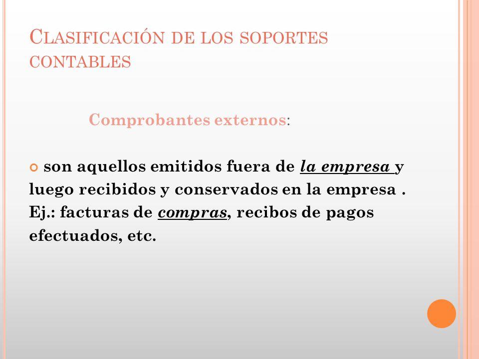C LASIFICACIÓN DE LOS SOPORTES CONTABLES Comprobantes externos : son aquellos emitidos fuera de la empresa y luego recibidos y conservados en la empre