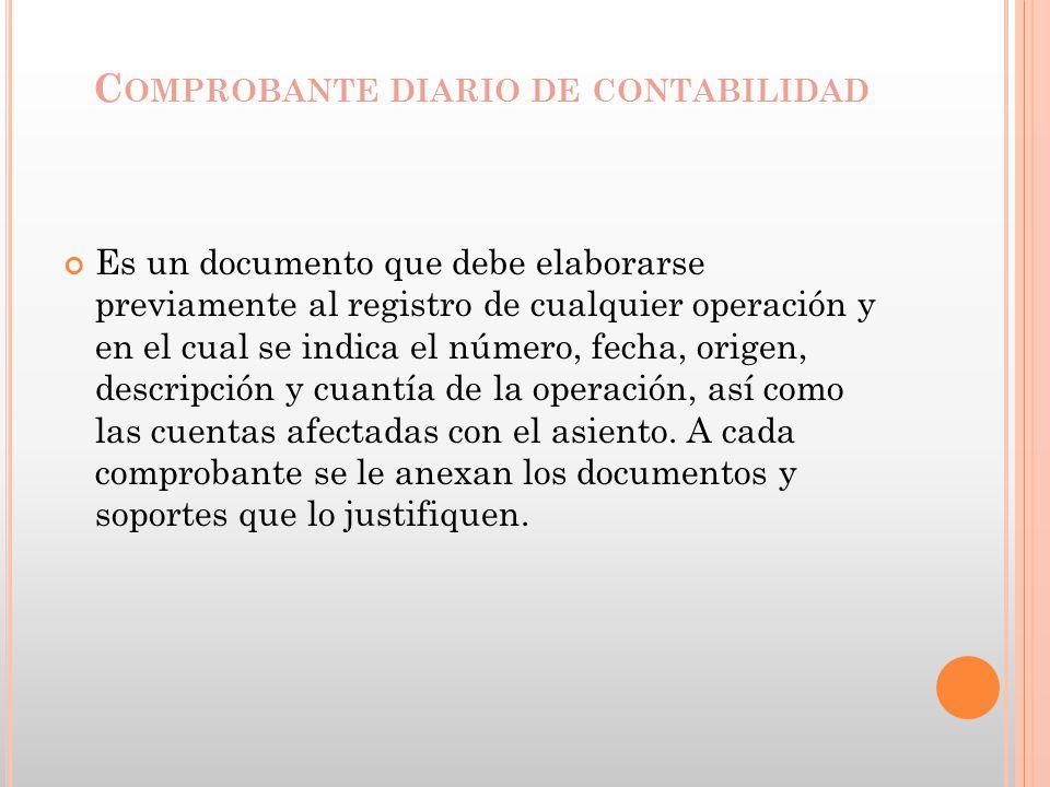 C OMPROBANTE DIARIO DE CONTABILIDAD Es un documento que debe elaborarse previamente al registro de cualquier operación y en el cual se indica el númer