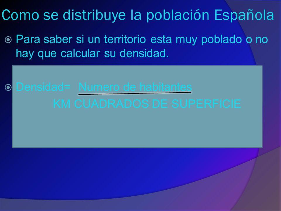 Como se distribuye la población Española  Para saber si un territorio esta muy poblado o no hay que calcular su densidad.