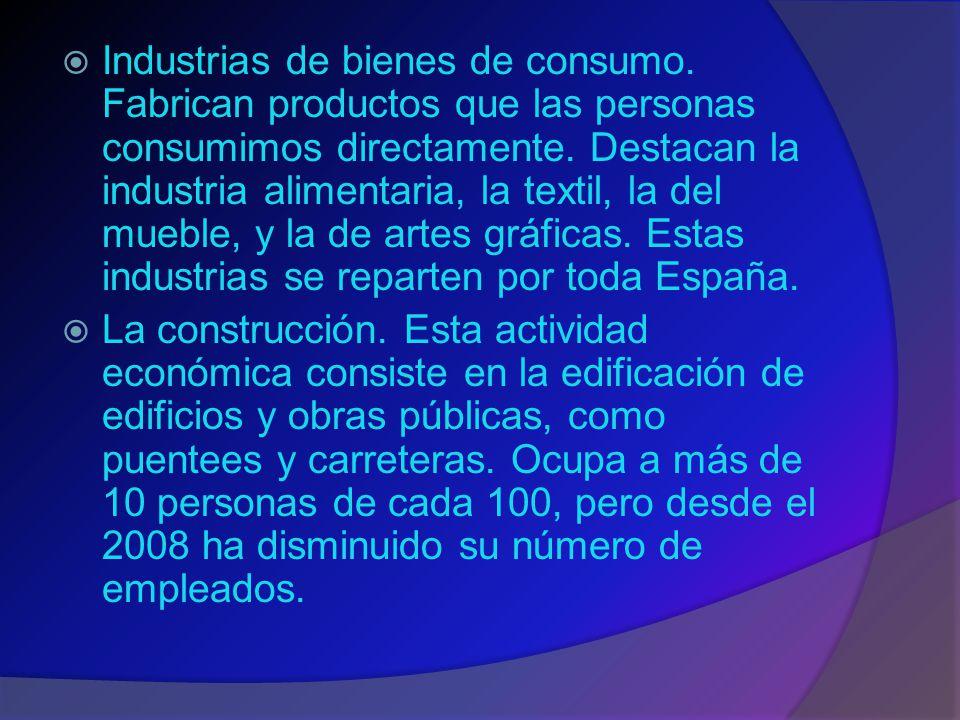  Industrias de bienes de consumo.Fabrican productos que las personas consumimos directamente.