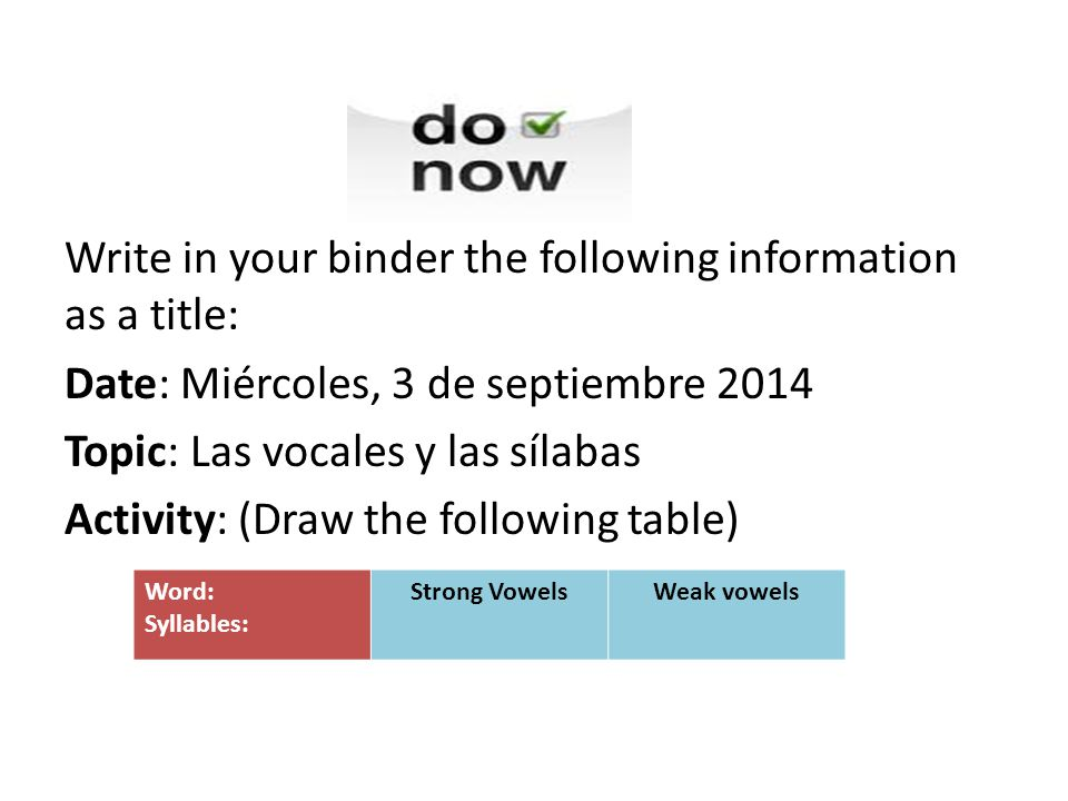 Write in your binder the following information as a title: Date: Miércoles, 3 de septiembre 2014 Topic: Las vocales y las sílabas Activity: (Draw the following table) Word: Syllables: Strong VowelsWeak vowels