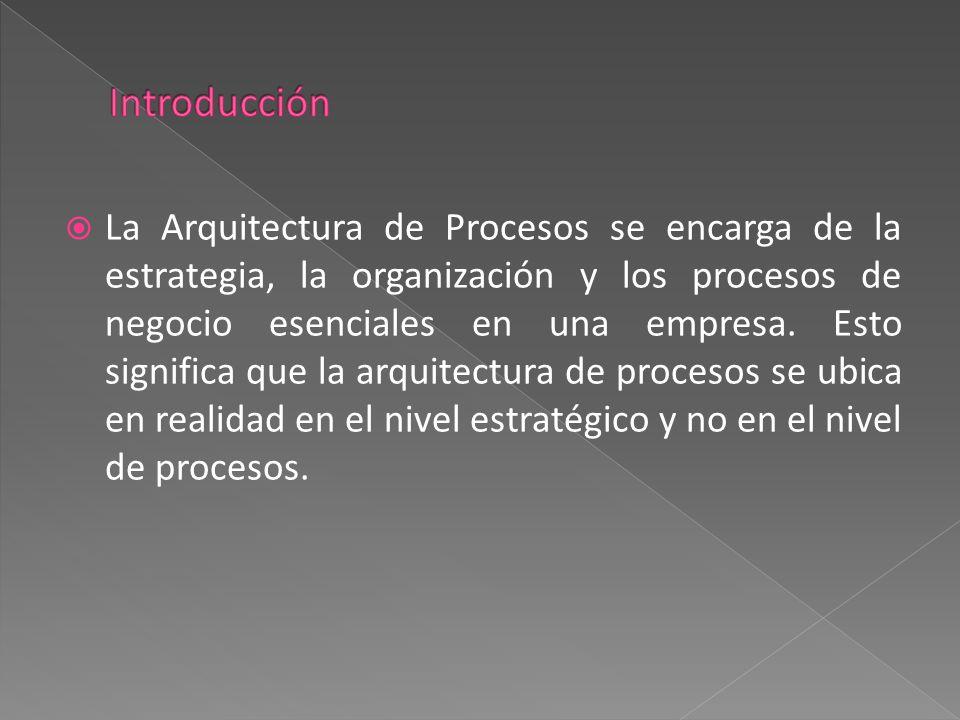  La Arquitectura de Procesos se encarga de la estrategia, la organización y los procesos de negocio esenciales en una empresa. Esto significa que la