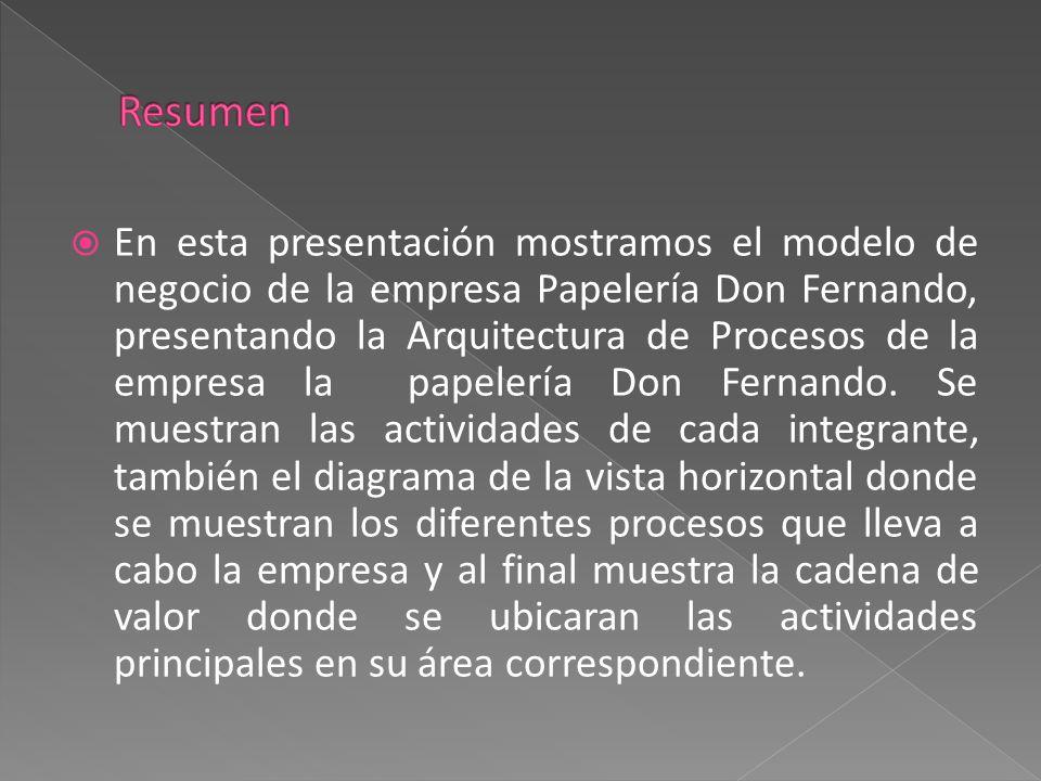  En esta presentación mostramos el modelo de negocio de la empresa Papelería Don Fernando, presentando la Arquitectura de Procesos de la empresa la p