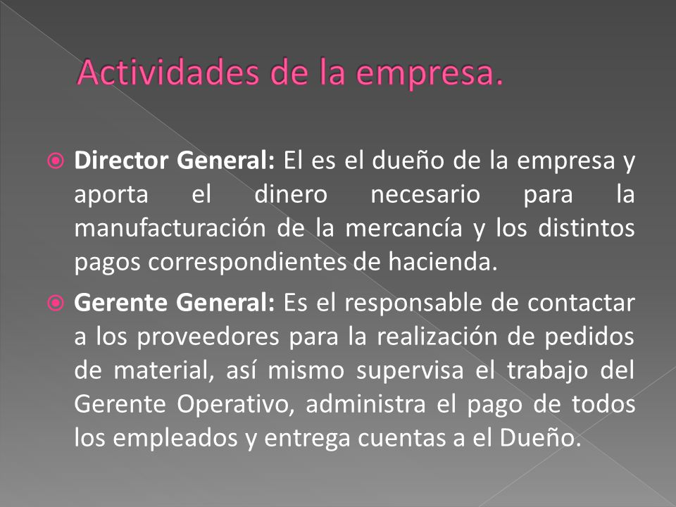  Director General: El es el dueño de la empresa y aporta el dinero necesario para la manufacturación de la mercancía y los distintos pagos correspond