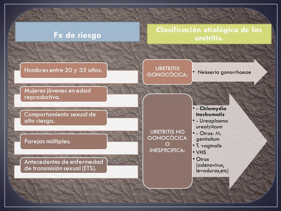 Fx de riesgo Clasificación etiológica de las uretritis.