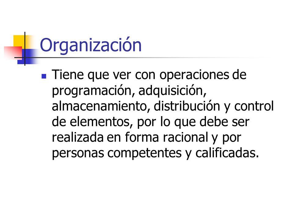Organización Tiene que ver con operaciones de programación, adquisición, almacenamiento, distribución y control de elementos, por lo que debe ser realizada en forma racional y por personas competentes y calificadas.