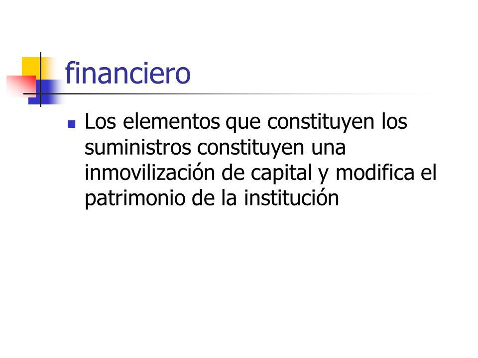 financiero Los elementos que constituyen los suministros constituyen una inmovilización de capital y modifica el patrimonio de la institución