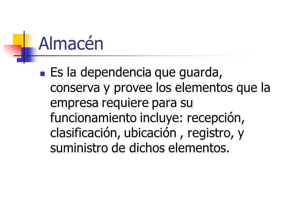 Almacén Es la dependencia que guarda, conserva y provee los elementos que la empresa requiere para su funcionamiento incluye: recepción, clasificación, ubicación, registro, y suministro de dichos elementos.