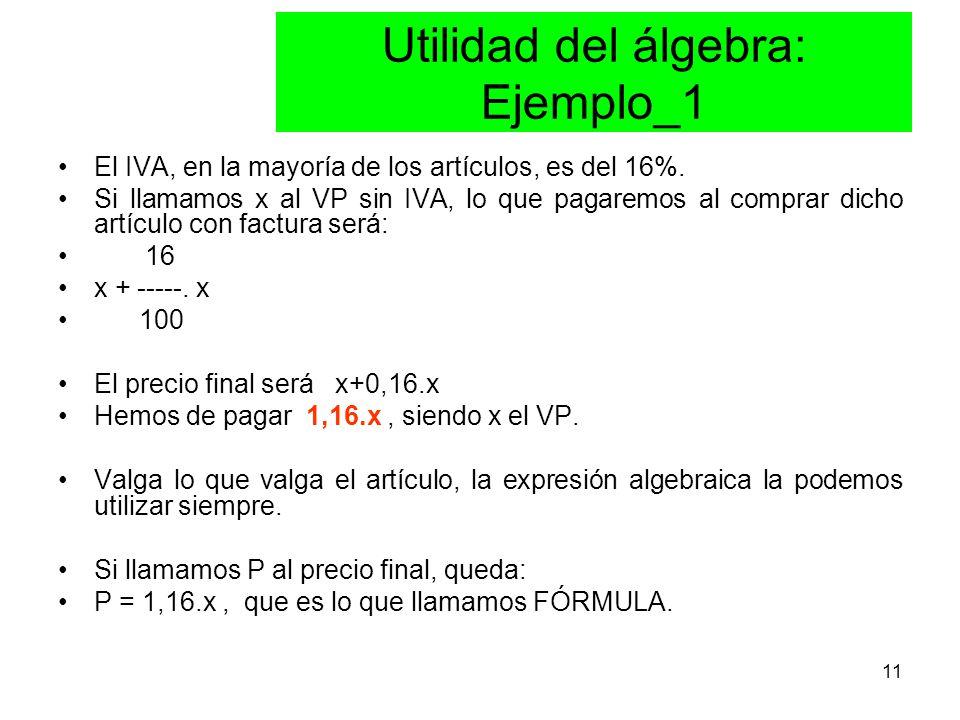 11 Utilidad del álgebra: Ejemplo_1 El IVA, en la mayoría de los artículos, es del 16%.