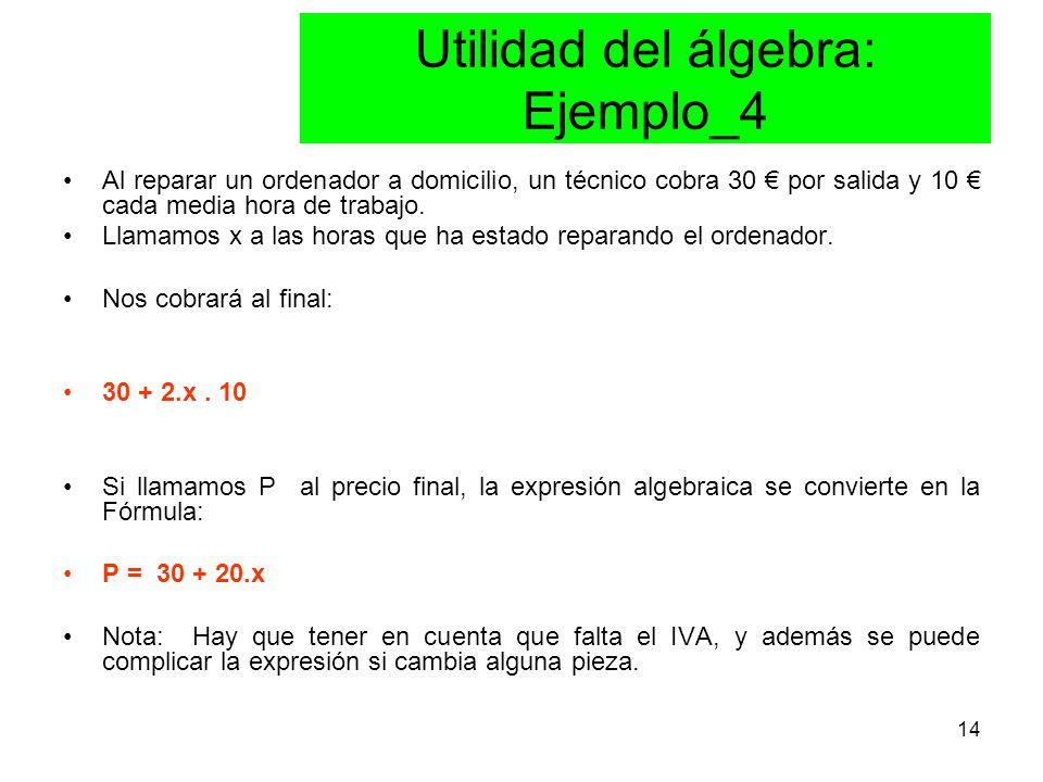 14 Utilidad del álgebra: Ejemplo_4 Al reparar un ordenador a domicilio, un técnico cobra 30 € por salida y 10 € cada media hora de trabajo.