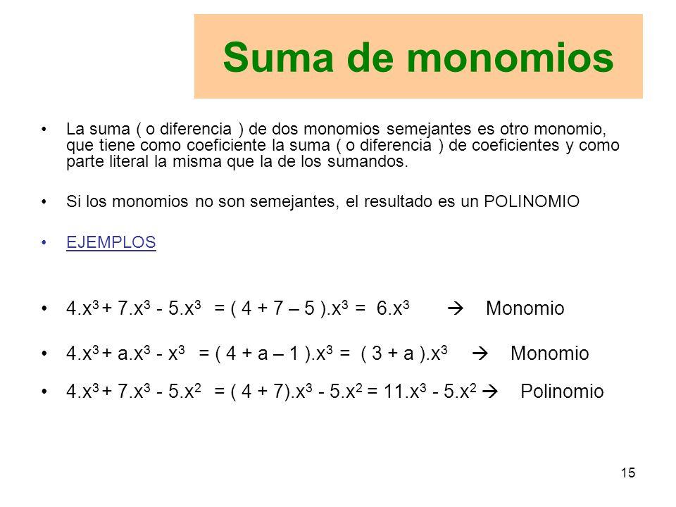 15 La suma ( o diferencia ) de dos monomios semejantes es otro monomio, que tiene como coeficiente la suma ( o diferencia ) de coeficientes y como parte literal la misma que la de los sumandos.