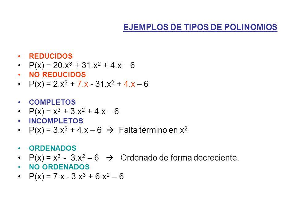 EJEMPLOS DE TIPOS DE POLINOMIOS REDUCIDOS P(x) = 20.x 3 + 31.x 2 + 4.x – 6 NO REDUCIDOS P(x) = 2.x 3 + 7.x - 31.x 2 + 4.x – 6 COMPLETOS P(x) = x 3 + 3.x 2 + 4.x – 6 INCOMPLETOS P(x) = 3.x 3 + 4.x – 6  Falta término en x 2 ORDENADOS P(x) = x 3 - 3.x 2 – 6  Ordenado de forma decreciente.