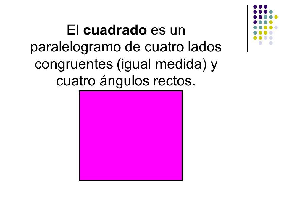 El rombo es un paralelogramo de cuatro lados congruentes..