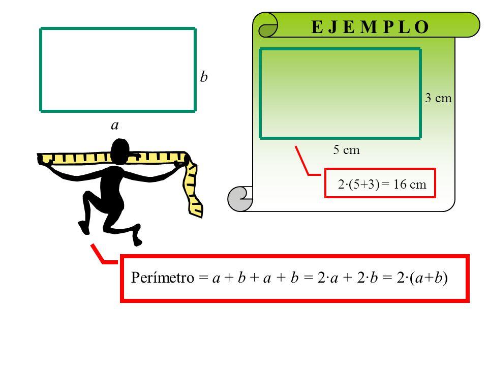 Área = a · b b a Si los lados fuesen iguales valdría para el cuadrado Área = a·b a b 3 cm 5 cm E J E M P L O