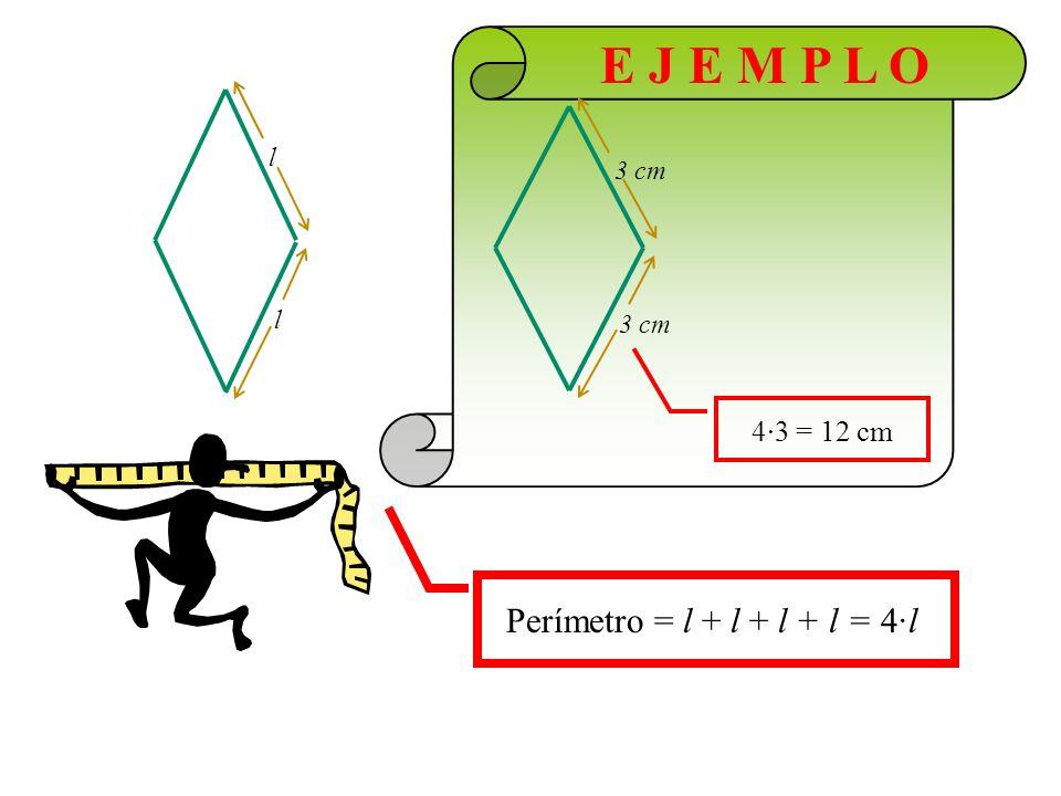 E J E M P L O Área = D d 8 cm 5 cm