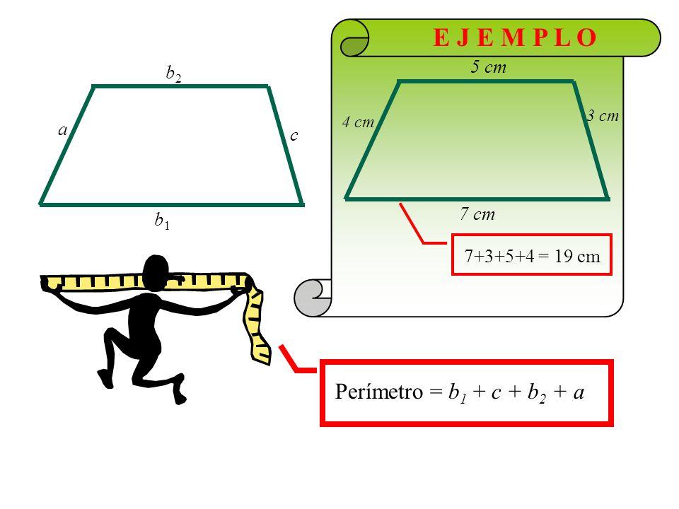 E J E M P L O h altura b1b1 b2b2 bases 5 cm 3 cm 2 cm Área =