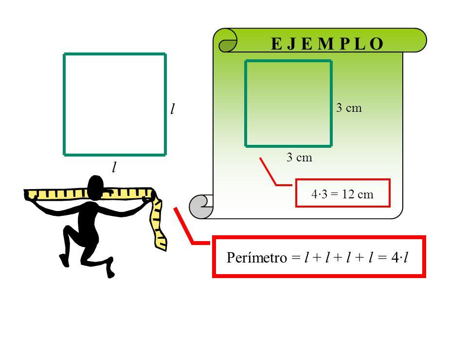 Área = l l Debe ser muy parecida a la del rectángulo Área = a·b a b 5 cm EJEMPLOEJEMPLO