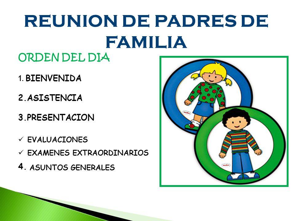 REUNION DE PADRES DE FAMILIA ORDEN DEL DIA 1.