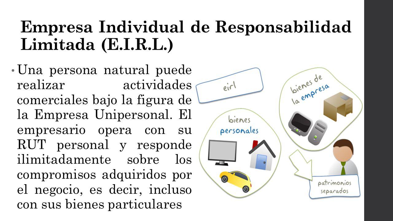 Empresa Individual de Responsabilidad Limitada (E.I.R.L.) Una persona natural puede realizar actividades comerciales bajo la figura de la Empresa Unipersonal.