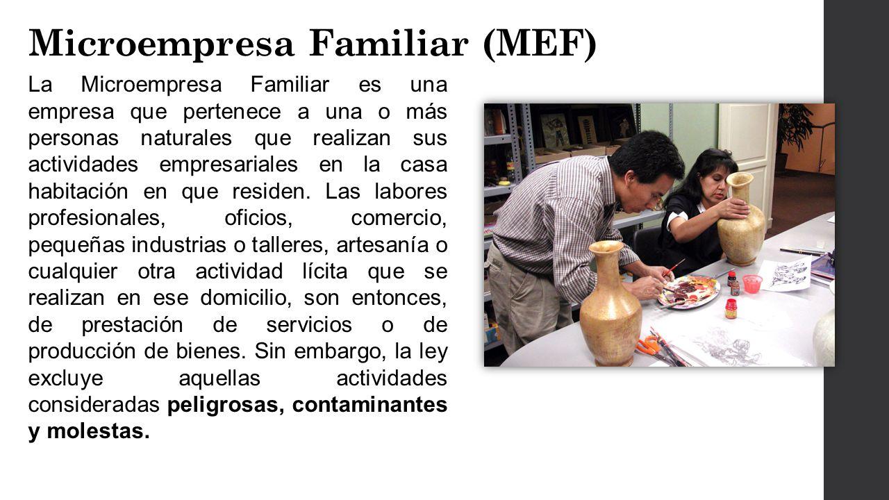 La Microempresa Familiar es una empresa que pertenece a una o más personas naturales que realizan sus actividades empresariales en la casa habitación en que residen.